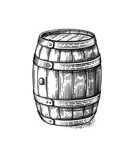 Vector Hand Drawing Wood Barrel