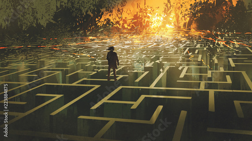Printed kitchen splashbacks Grandfailure destroyed maze concept showing the man standing in a burnt labyrinth land, digital art style, illustration painting