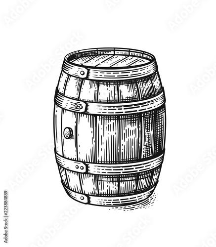 Photo Vector hand drawing wood barrel
