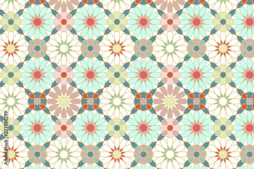 Abstract geometric mosaic pattern, marbled tiles zellij in Moroccan style, textu Canvas Print