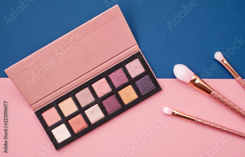 Fotografia, Obraz Flat lay female cosmetics collage with eye shadows and brushes on pink and blue background