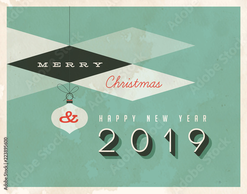 Photo Vintage style 2019 greetings card - Vector EPS10