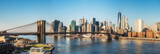 Fototapeta Nowy Jork - Brooklyn bridge and Manhattan at sunny day, New York City