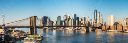 Foto auf Leinwand Brooklyn Bridge Brooklyn bridge and Manhattan at sunny day, New York City