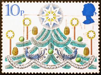 Christmas tree on british postage stamp