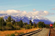 Canmore, Mount Cascade View, Autumn, The Fall, Alberta, Canada, Train Tracks