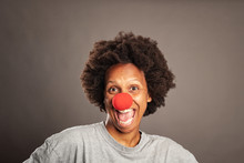 Happy Black Woman With A Clown...