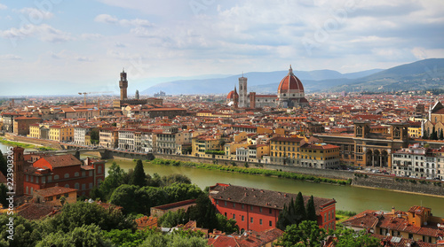Fototapety, obrazy: Florence Cathedral and Palazzo Vecchio in Florence, Italy