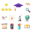 Vector illustration of education and learning icon. Set of education and school vector icon for stock.
