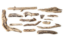 Set Of Driftwood Isolated On W...