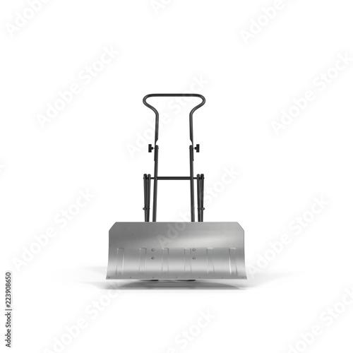 Photo  Yellow Rolling Snow Shovel on white. 3D illustration