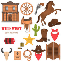 Wild West Color Vector Icons Set. Flat Design