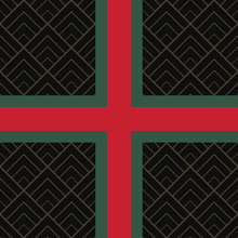 Seamless Pattern With Green And Red Ribbon And Diamond Tile