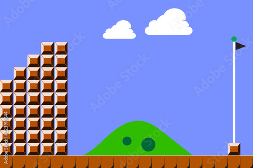 Old video game background. Vector illustration eps10 Wallpaper Mural