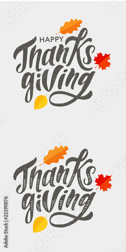 Fényképezés  Happy Thanksgiving lettering Calligraphy Brush Text Holiday Vector Sticker Gold