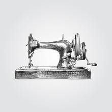Hand Drawn Sewing Machine Sketch Symbol Isolated On White Background. Vector Sewing Elements In Trendy Style.