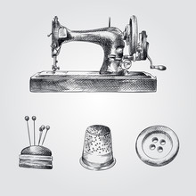 Hand Drawn Sewing Sketches Set. Collection Of Sewing Machine, Pincushion For Needles, Thimble, Button Sketches On White Background.