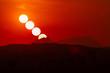 Leinwandbild Motiv Sunset in Montserrat, Catalonia, Spain