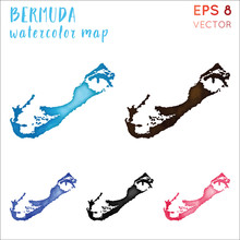 Bermuda Watercolor Island Map....
