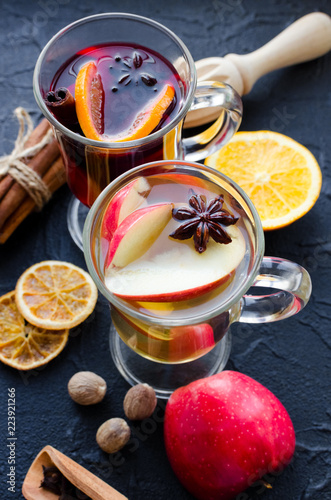 Two glasses of different type of mulled wine