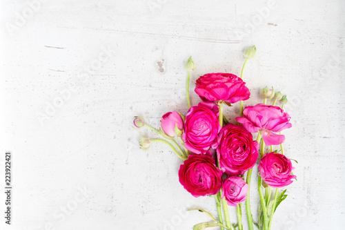 Floral composition - ranunculus flowers on white wooden background Fototapeta