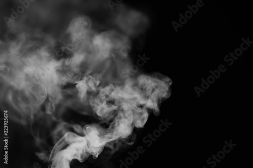 White smoke on a black background. Texture of smoke. Clubs of wh Wallpaper Mural