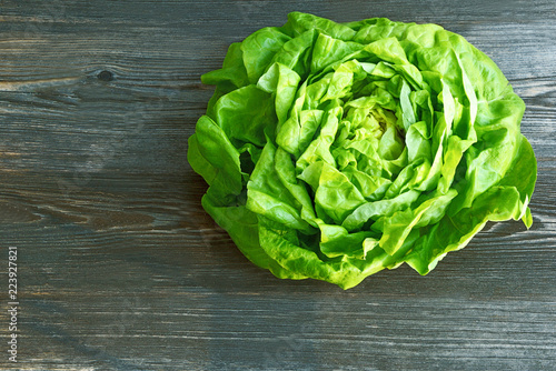 Fresh organic Lettuce on wooden background