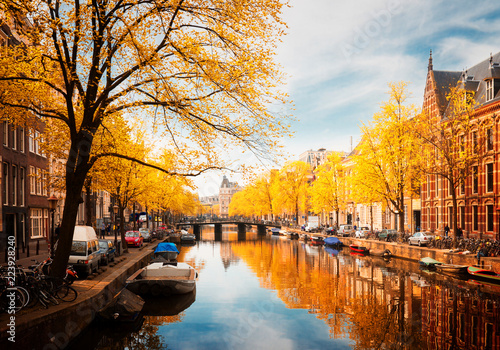 Foto auf AluDibond Amsterdam embankment of canal ring at spring, Amsterdam at fall, Netherlands