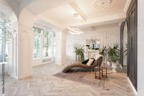 Obraz interior in hotel. daylight in the interior and light of electric lamps. luxury living room with parquet wood floors, fireplace, sofa and houseplant. Stucco on walls - fototapety do salonu