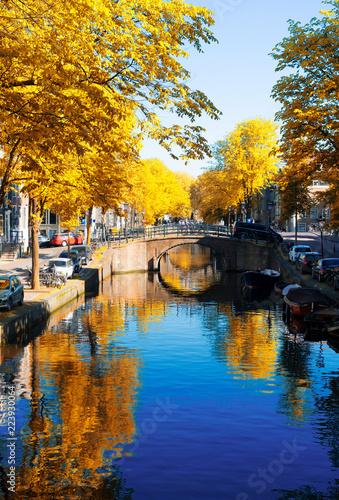 Photo  bridge of Amsterdam over canal ring landmark in old european citye, Amsterdam fa