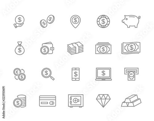 Fototapeta Set of bank and money line icons. Coin, cash, card, credit, atm, diamont, wallet, gold, deposit, purse, piggy, diamond, dollar, bag and more. Editable Stroke. obraz