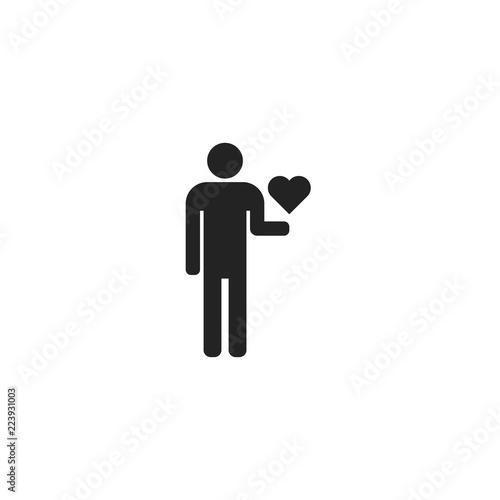 Photo  Man Holding Heart Fill Icon Vector