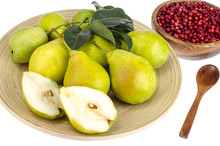 Ripe Sweet Pears On Wooden Platter