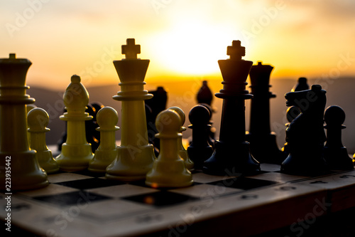 chess board game concept of business ideas and competition and strategy ideas Fototapet