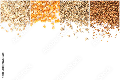 Leinwand Poster Set with different cereals with space for text on white background