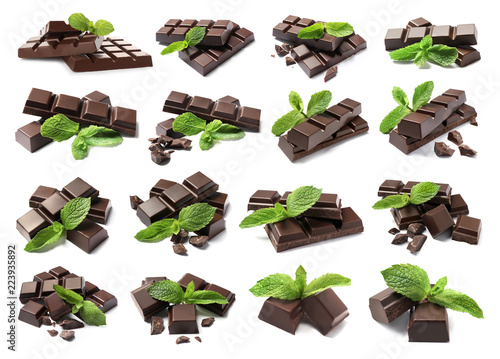 Set with delicious chocolate and mint on white background