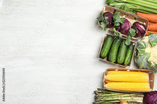 Flat lay composition with fresh vegetables and space for text on light background