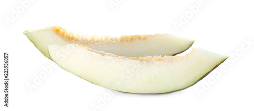 Sliced sweet fresh melon isolated on white