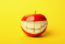Funny Smiling Apple On Color B...