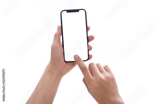 Obraz hand holding phone mobile and touching screen isolated on white background - fototapety do salonu