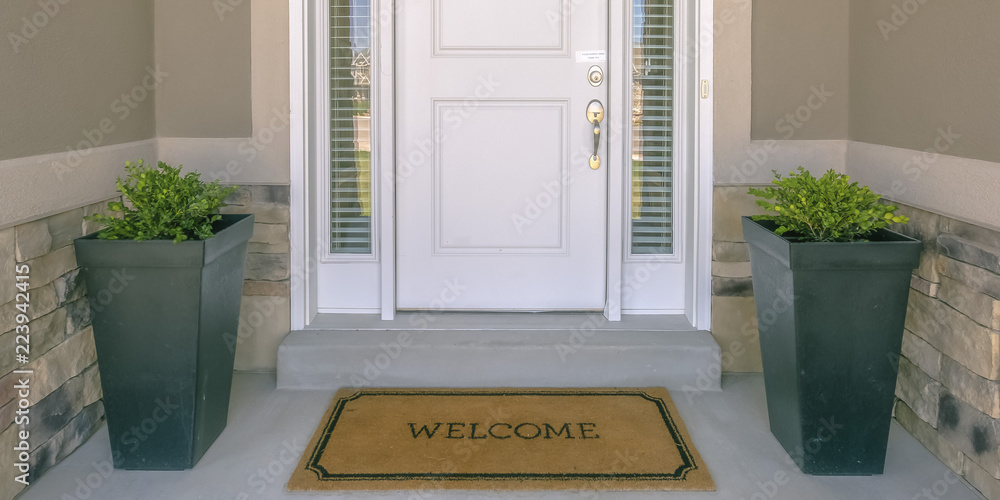 Fototapety, obrazy: Front door with doormat plants and glass panel