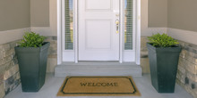 Front Door With Doormat Plants...