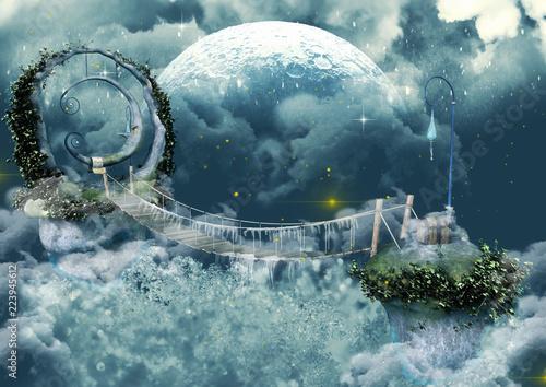 Frozen scene fairytale bridge with a moon statue.