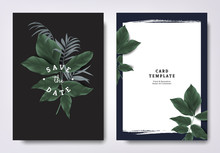Botanical Wedding Invitation Card Template Design, Tropical Green Leaves On Black Background, Minimalist Vintage Style