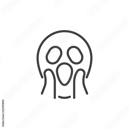 Shocked Face Emoji Outline Icon Linear Style Sign For Mobile