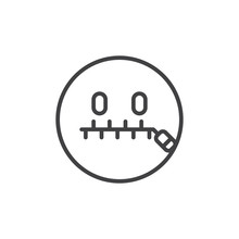 Zipped Mouth Smiley Outline Ic...