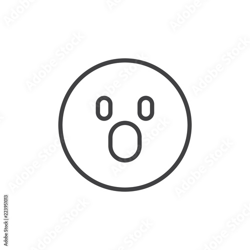 Shocked Face Emoticon Outline Icon Linear Style Sign For Mobile