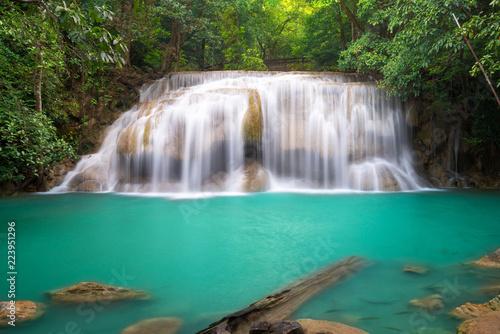 Poster Bleu nuit Erawan Waterfall in Thailand is locate in Kanchanaburi Provience. This waterfall is in Erawan national park