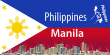 Vector Illustration Of Manila City Skyline With Flag Of Philippines On Background