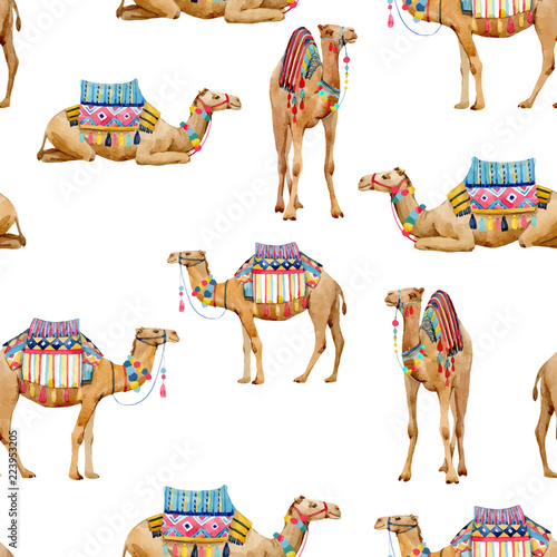 Photo Watercolor camel vector pattern